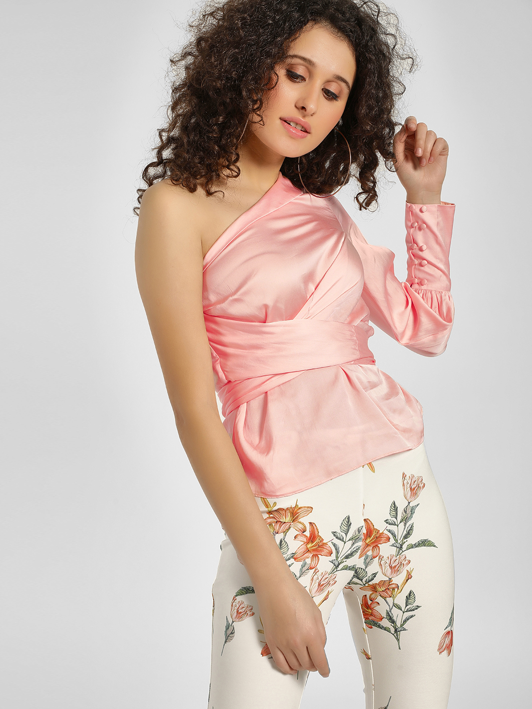 Cover Story Blush One Shoulder Satin Blouse 1