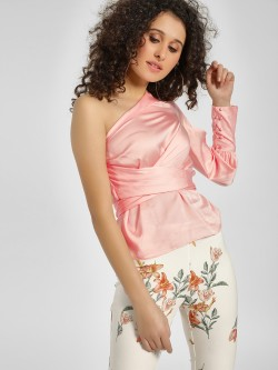 Cover Story One Shoulder Satin Blouse