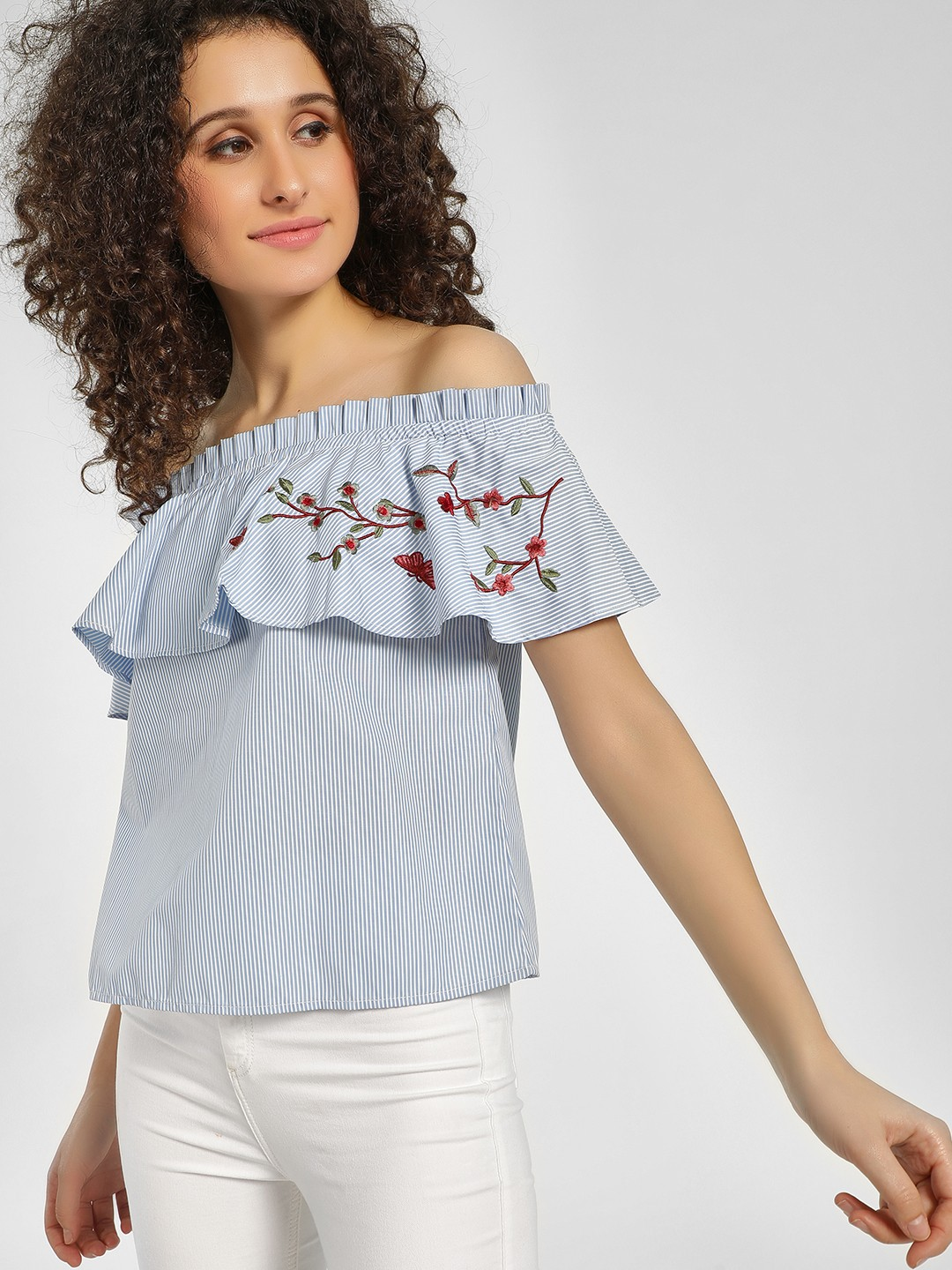 Cover Story Blue Striped Floral Embroidered Off-Shoulder Top 1