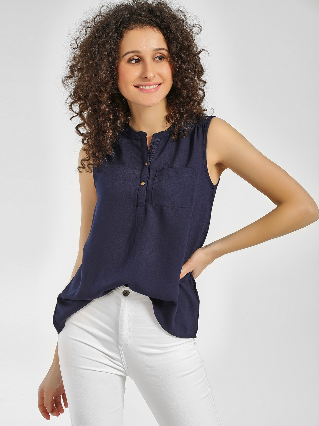 Cover Story Navy Stud Detail Sleeveless Top 1
