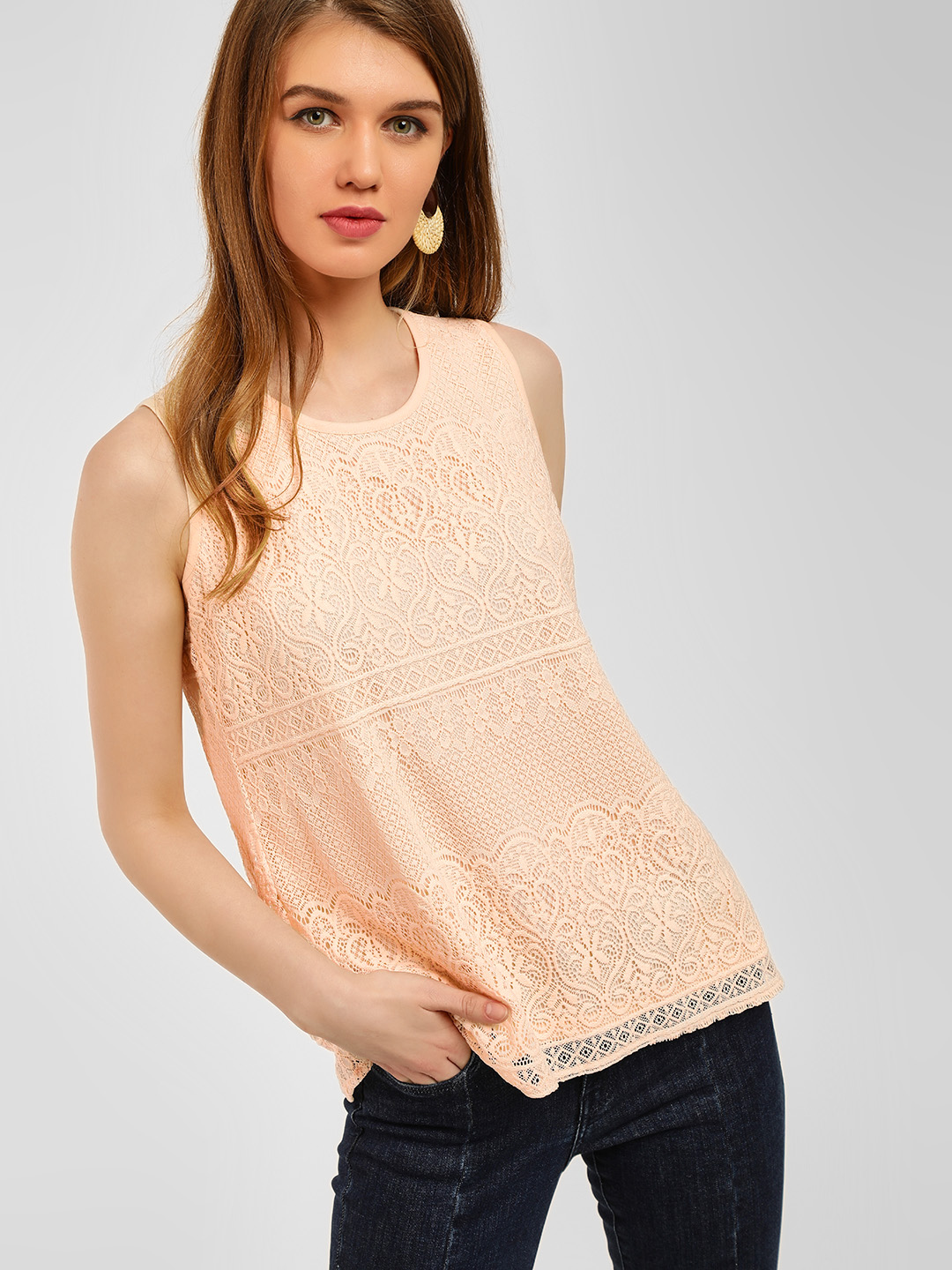 Cover Story Beige Lace Detail Sleeveless Top 1