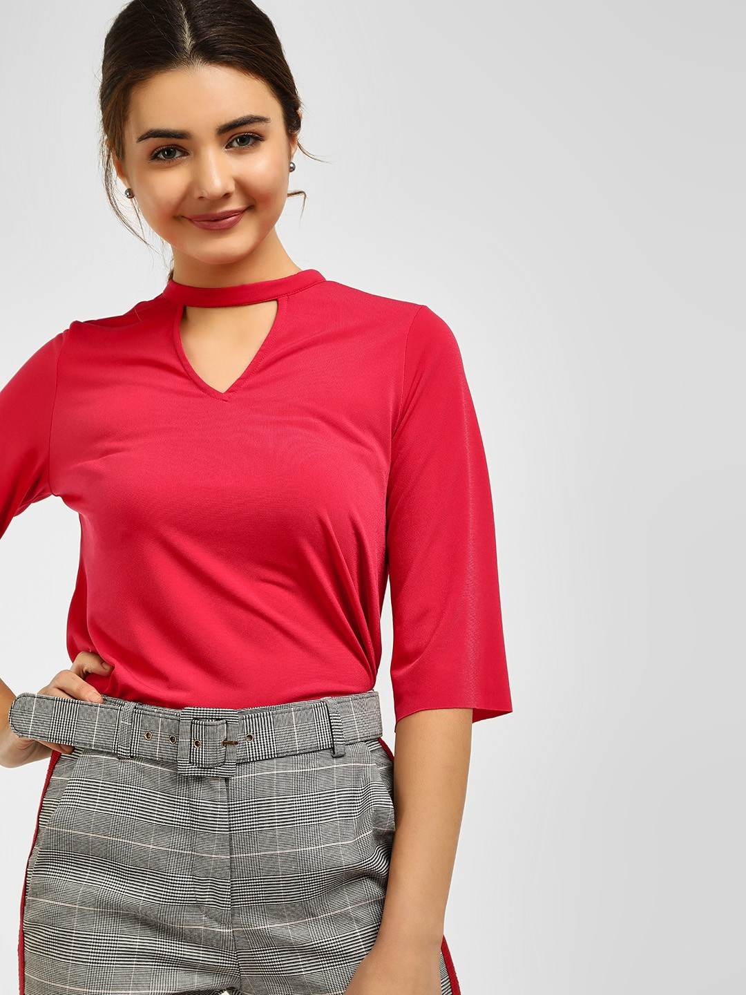 Cover Story Red Choker Neck Blouse 1