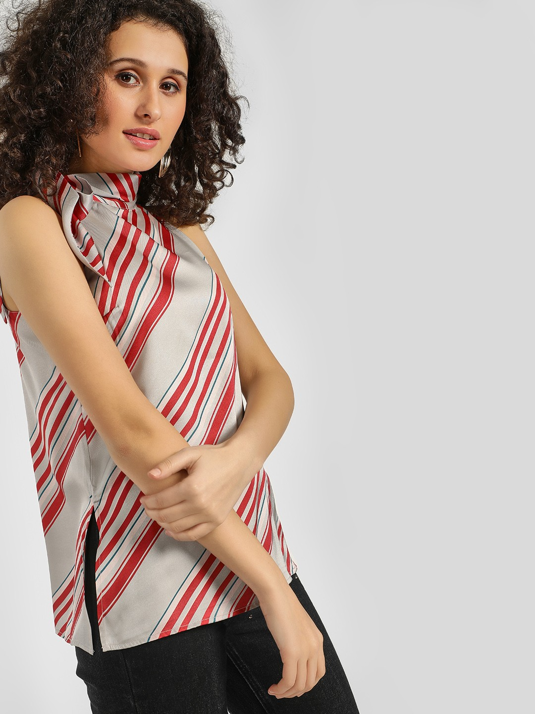 Cover Story Multicolor Striped Tie-Neck Sleeveless Blouse 1