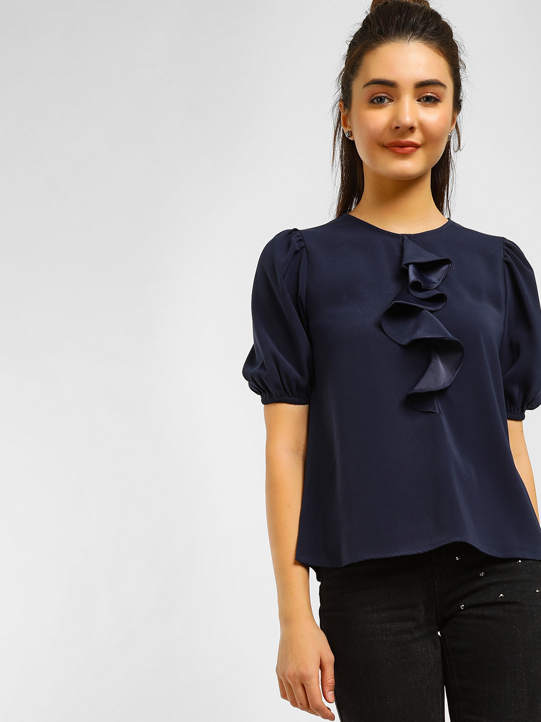 Cover Story Navy Frilled Short Sleeves Top 1