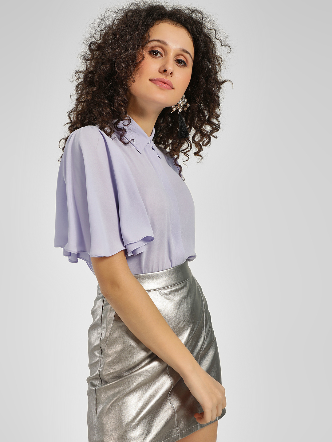 Cover Story Lilac Flared Sleeve Blouson Shirt 1