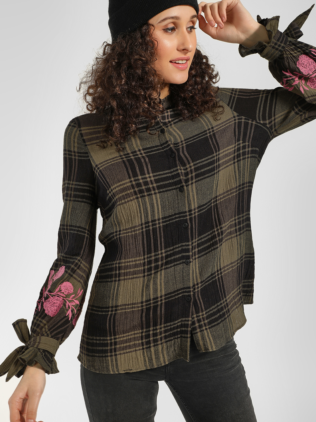 Cover Story Green Floral Embroidered Checkered Shirt 1