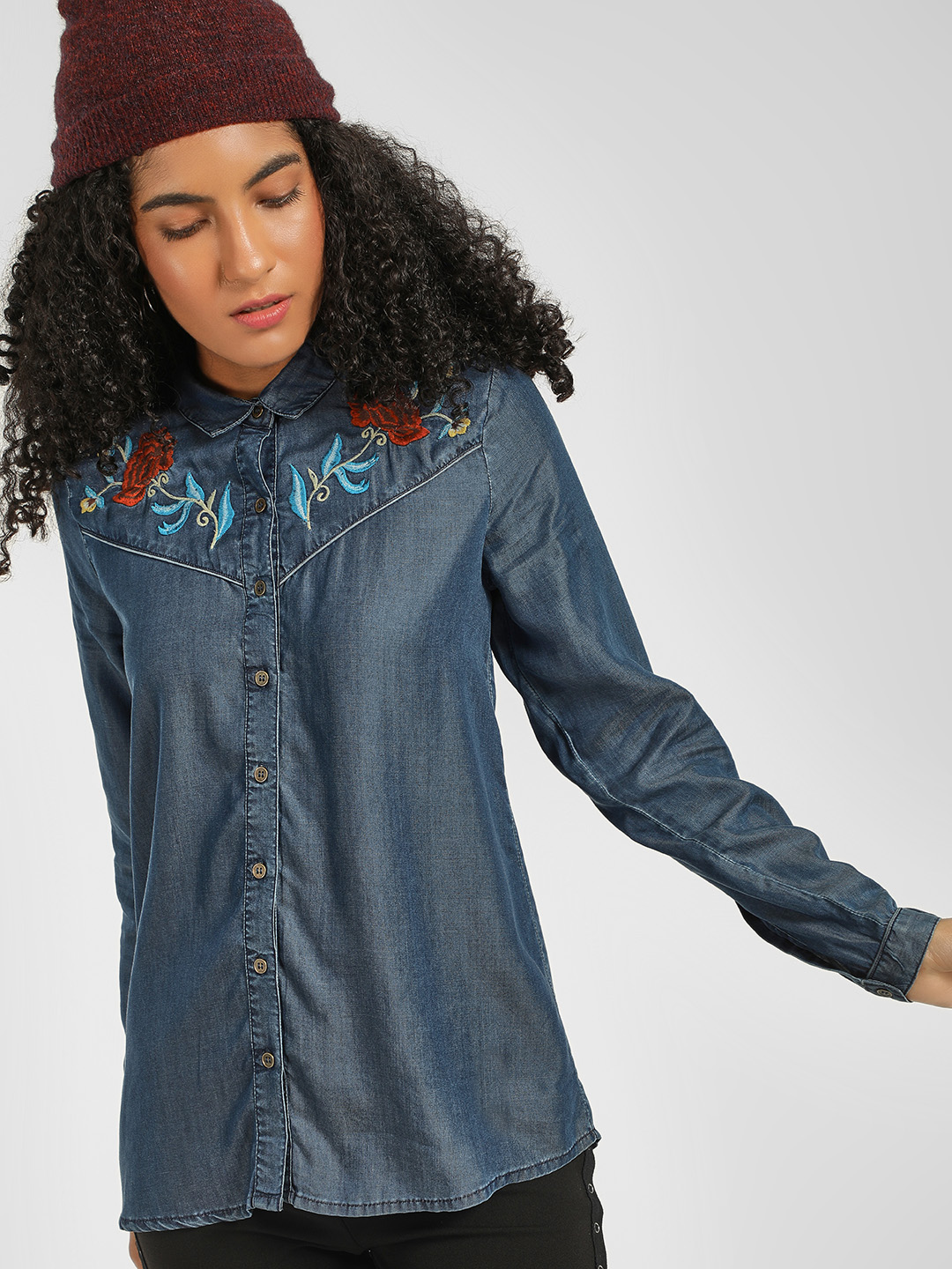 Cover Story Blue Floral Embroidered Shirt 1
