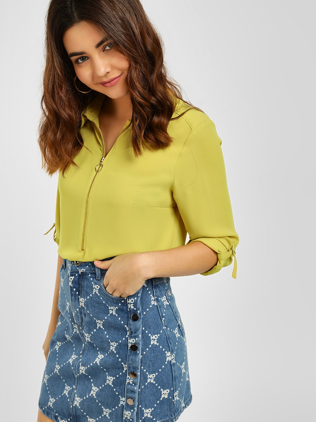 Cover Story Lime Green Zipper Detail Blouse 1