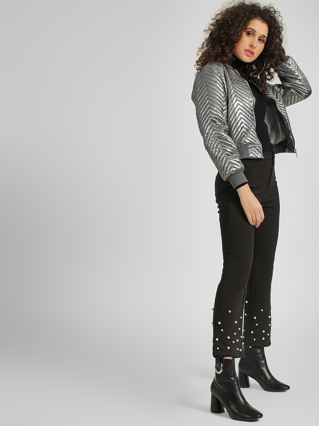 Cover Story Black Embellished Smart Casual Trouser 1