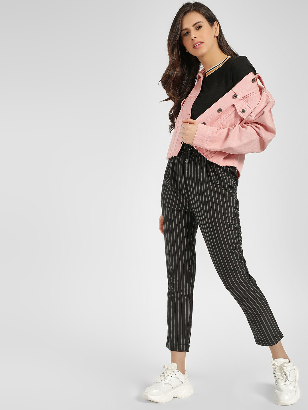 Cover Story Black Stripped Casual Trouser 1