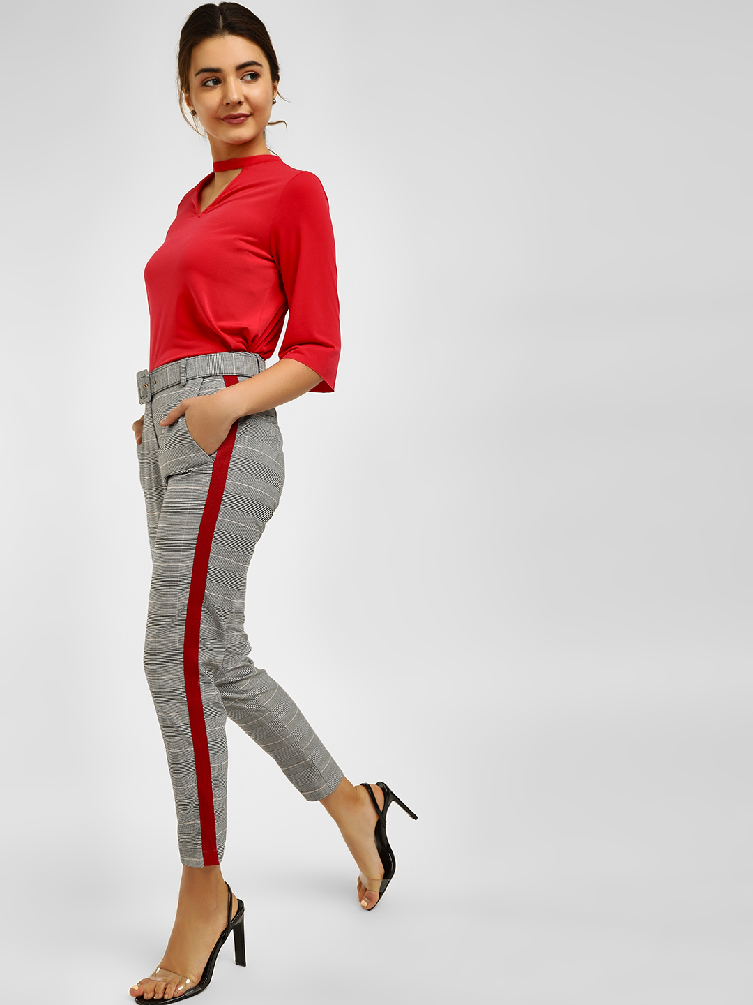 Cover Story Grey Contrast Side Tape Casual Trouser 1