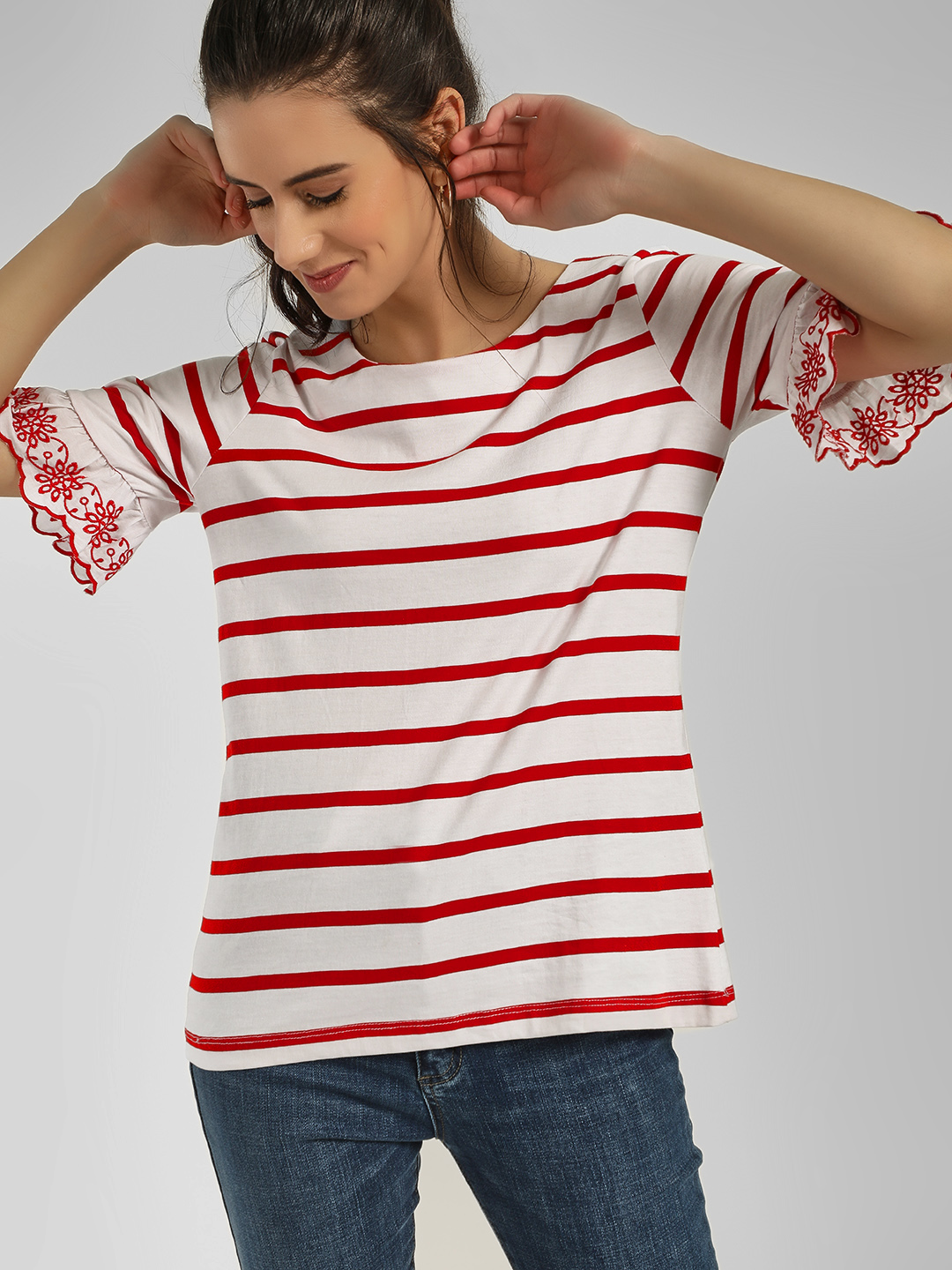 Cover Story Red Striped Flared Sleeves T-Shirt 1