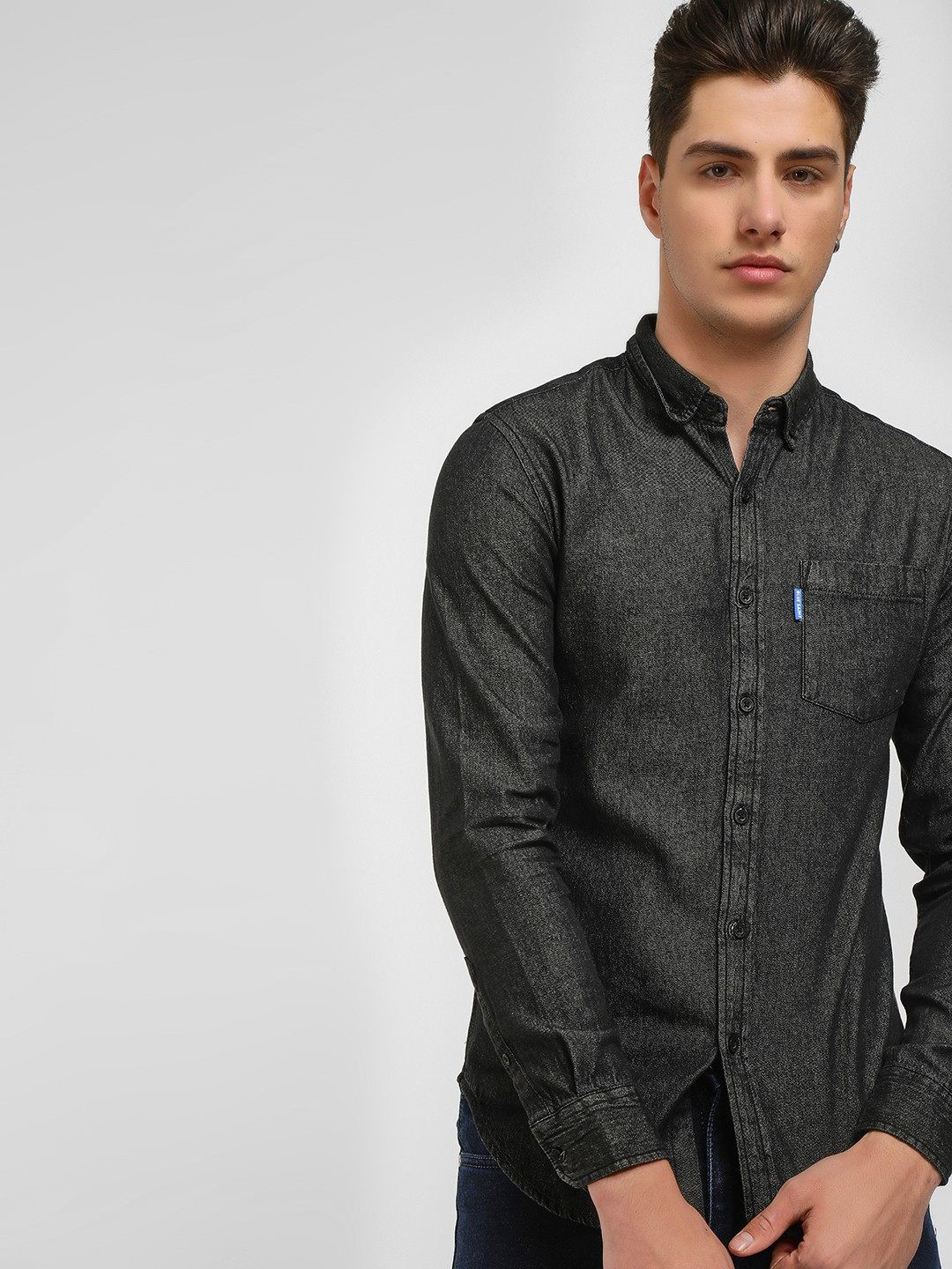 Blue Saint Black Button Down Denim Shirt 1