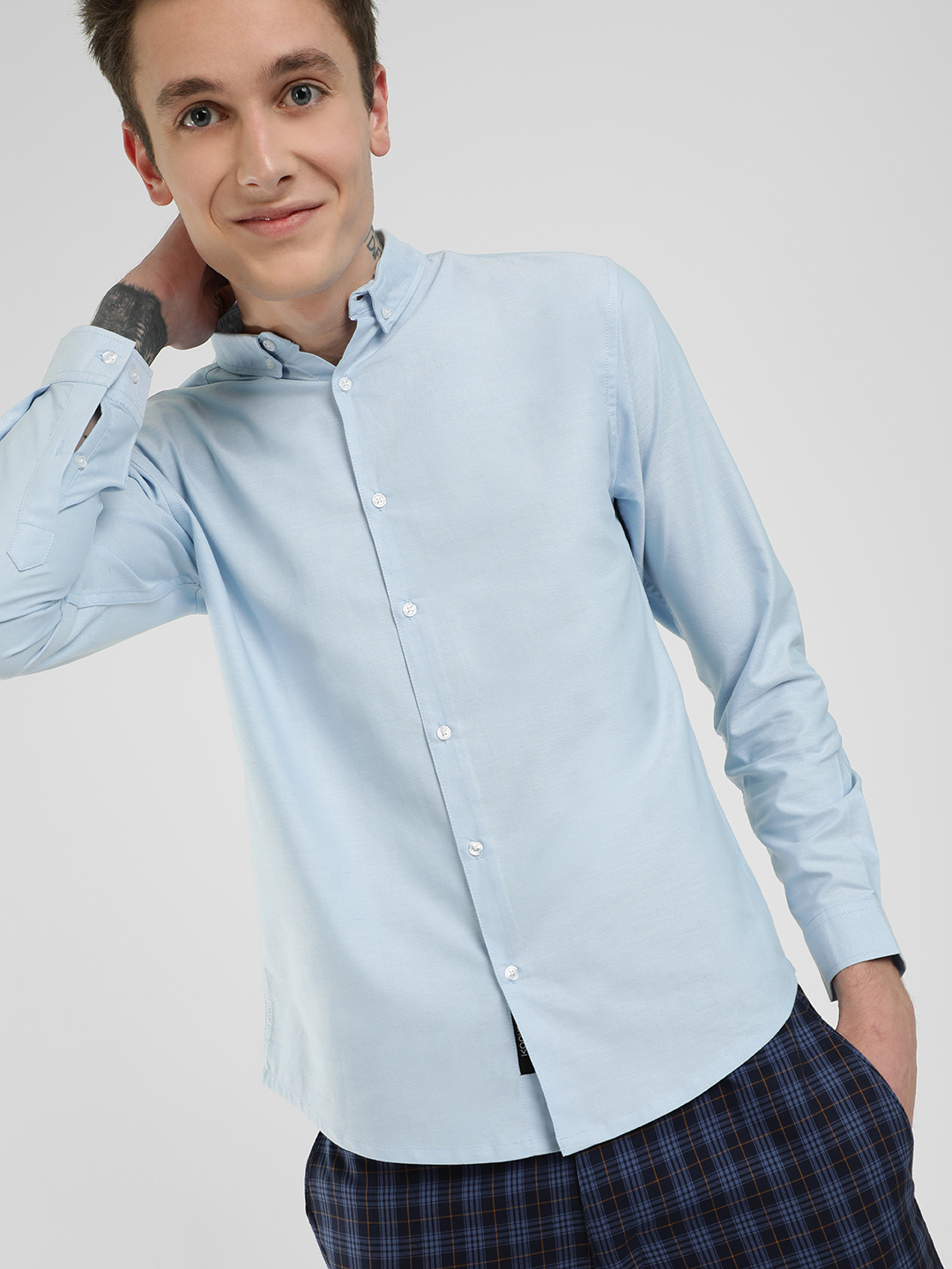 KOOVS Blue Oxford Long Sleeve Shirt 1