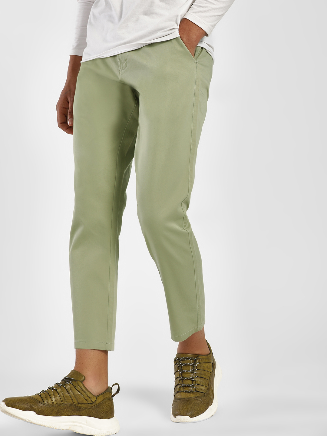 KOOVS Green Basic Tapered Fit Chinos 1
