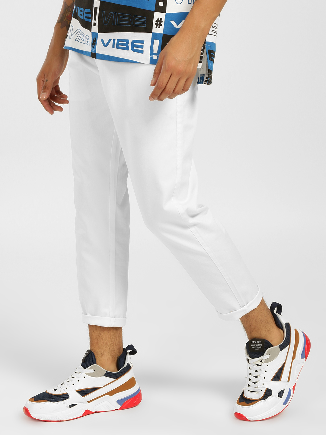 KOOVS White Basic Tapered Fit Chinos 1