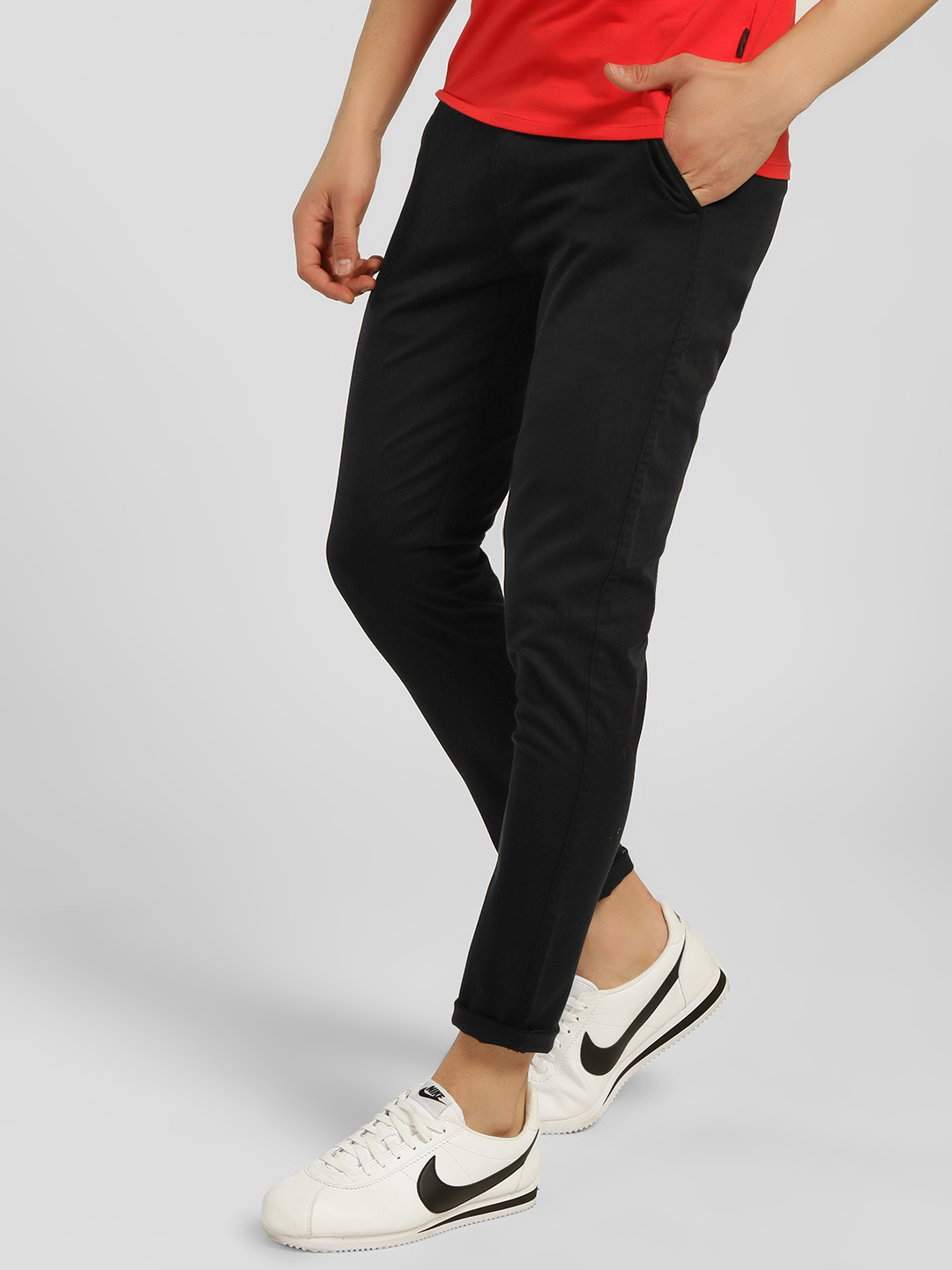 KOOVS Black Basic Skinny Fit Chinos 1