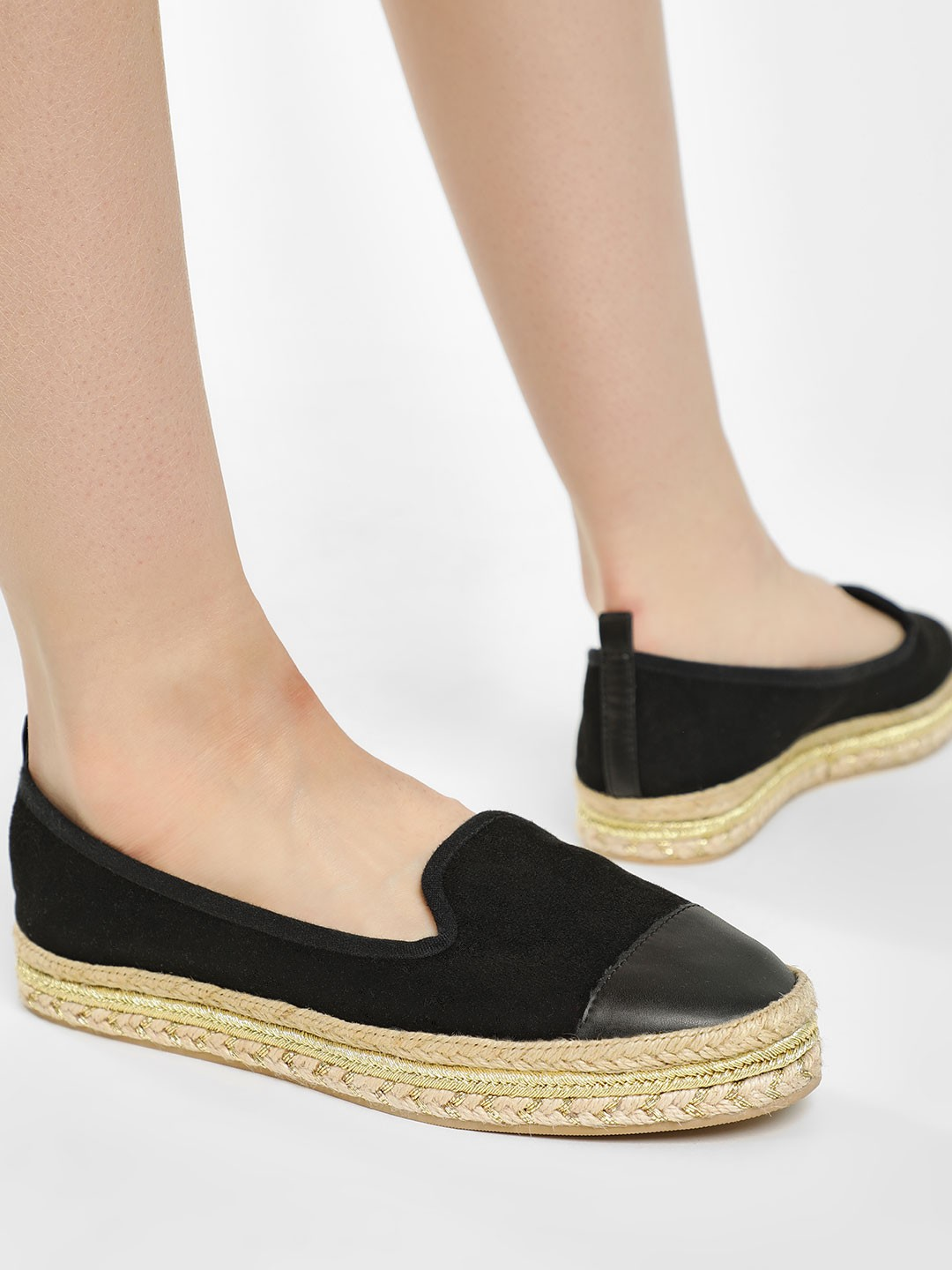 KOOVS Black Metallic Stacked Suede Espadrilles 1