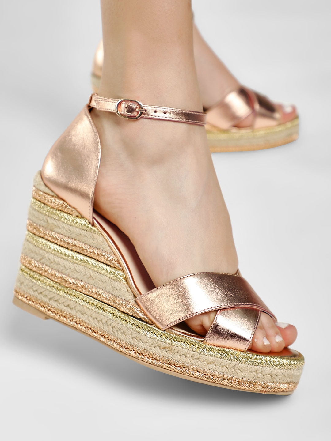 KOOVS Rose Gold Metallic Cross Strap Espadrille Wedges 1