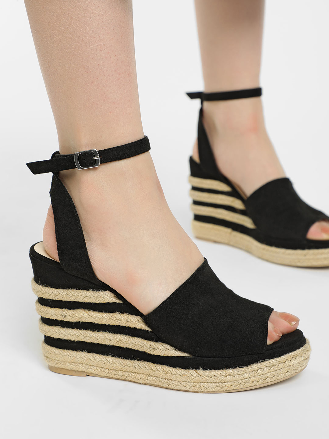 KOOVS Black Suede Stacked Espadrille Wedges 1