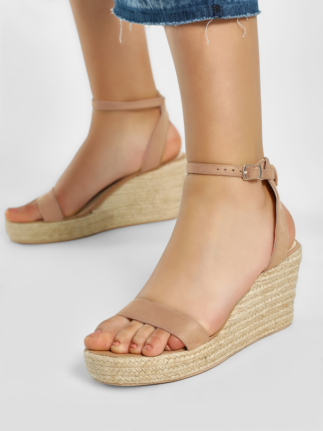 KOOVS Tan Suede Finish Stacked Espadrille Wedges 1