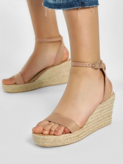 KOOVS Suede Finish Stacked Espadrille Wedges