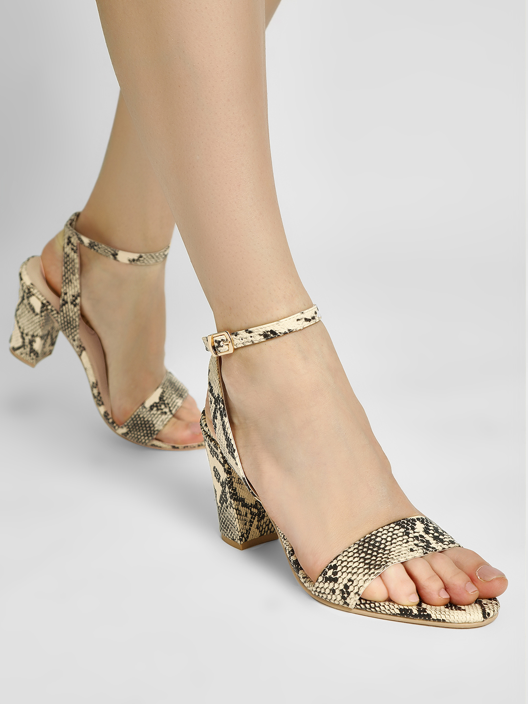 KOOVS Cream Snake Print Block Heeled Sandals 1