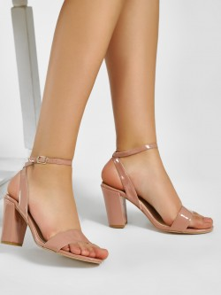 KOOVS Patent Block Heeled Sandals