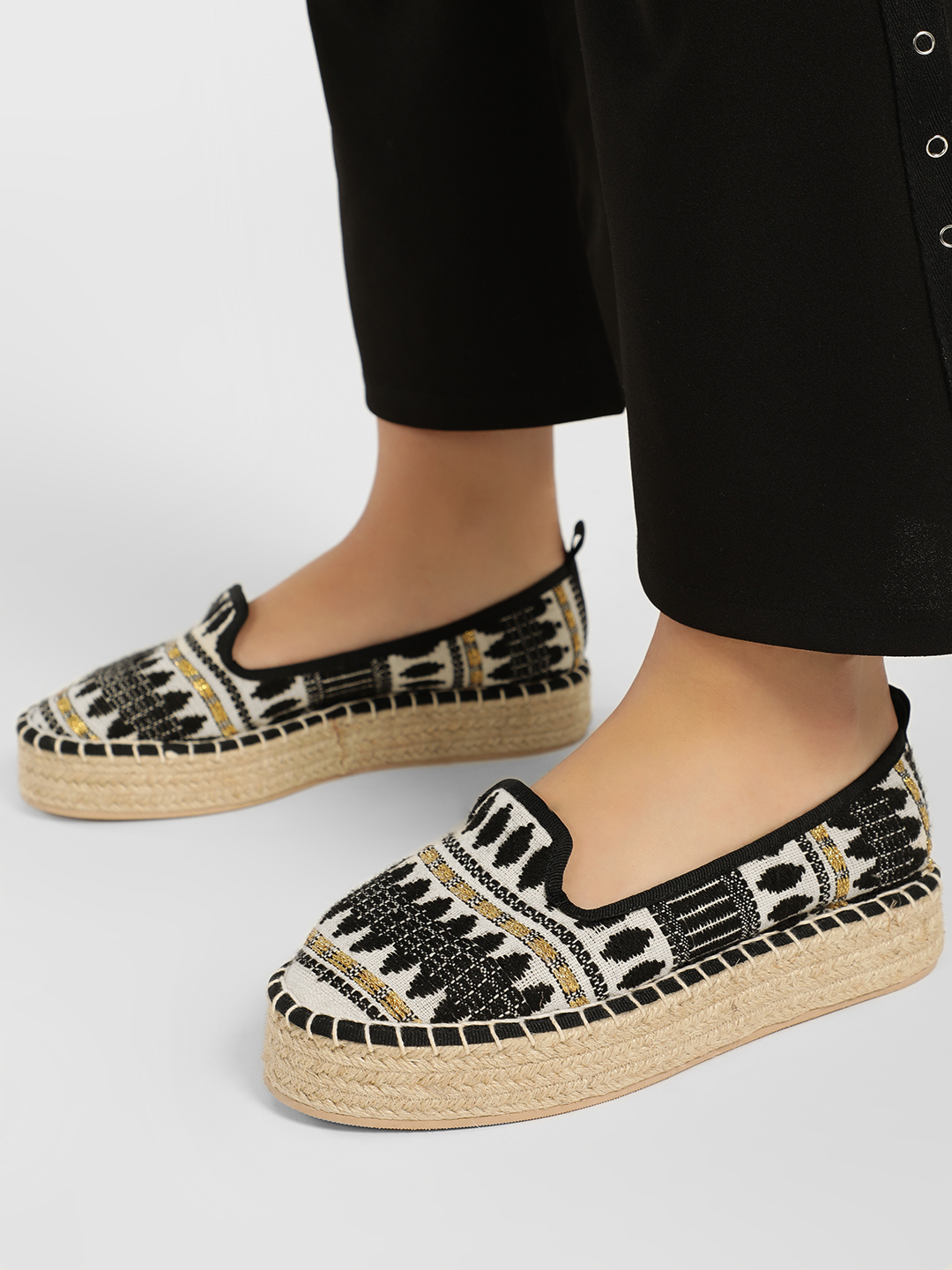 KOOVS Multi Jacquard Embroidered Stacked Espadrilles 1