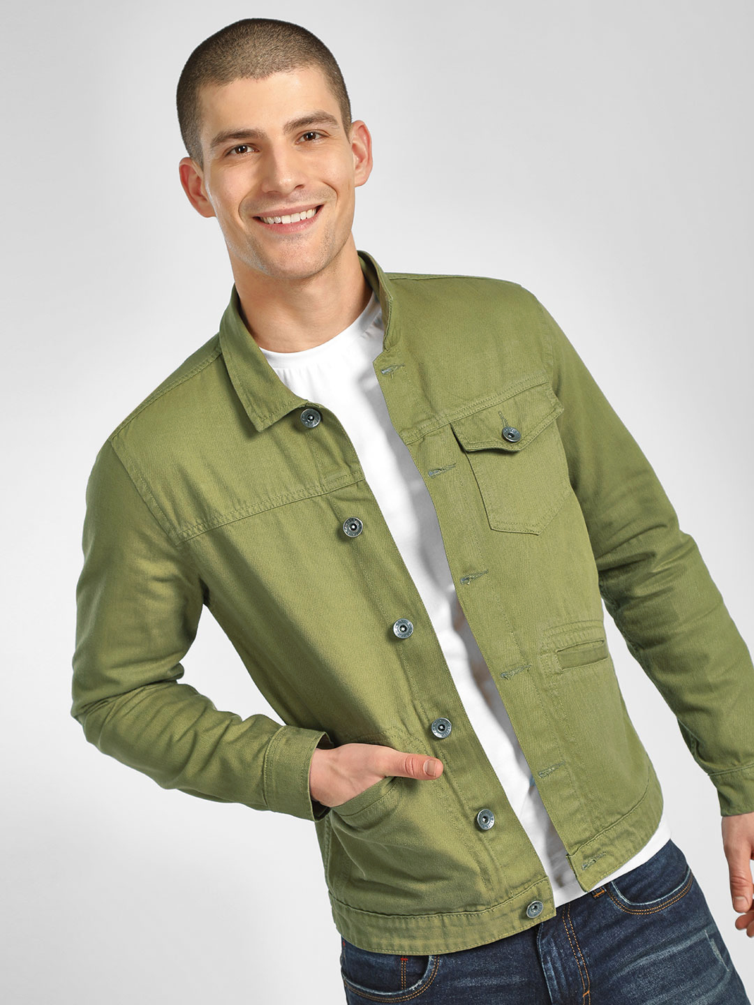K Denim Green KOOVS Casual Trucker Jacket 1