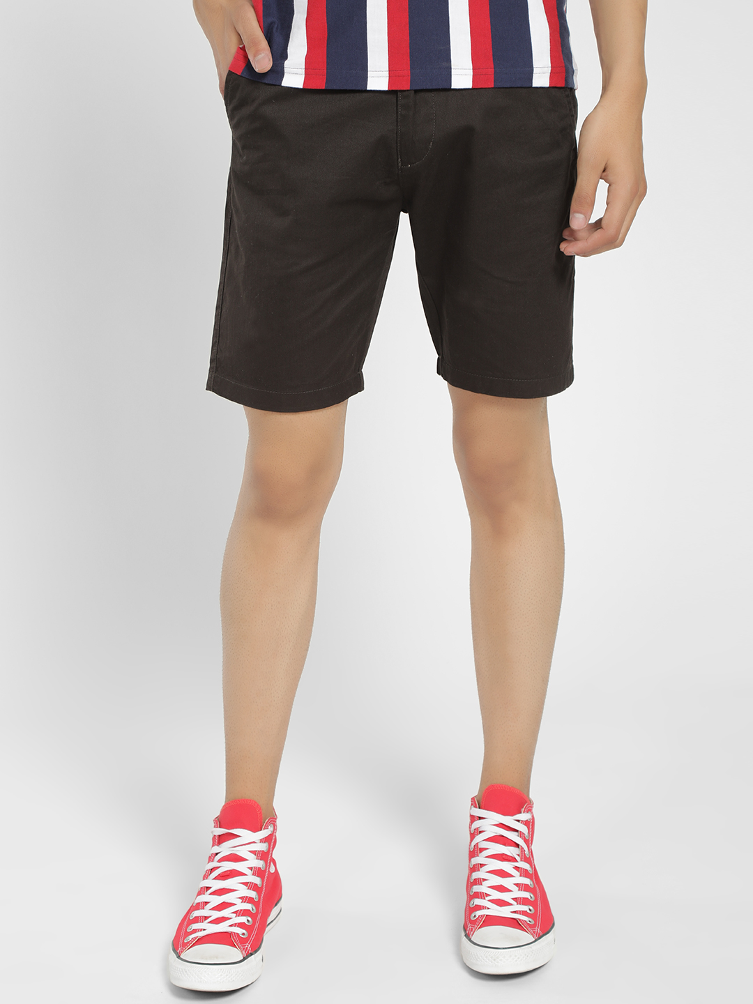 KOOVS Black Basic Slim Fit Shorts 1