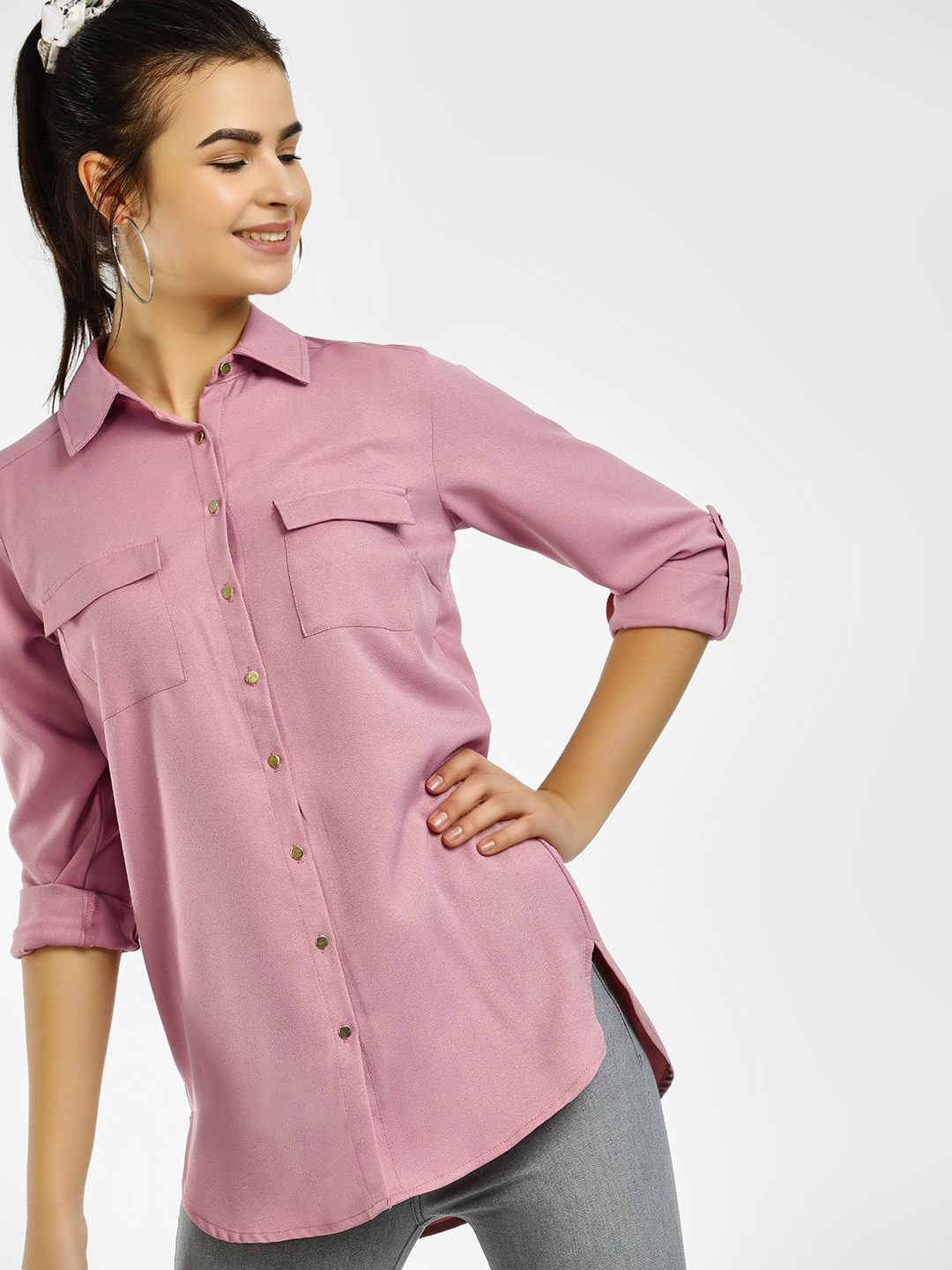 KOOVS Pink Basic High Low Shirt 1
