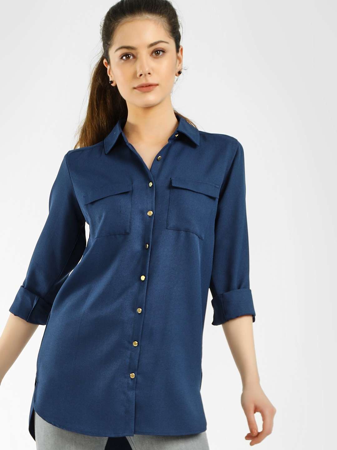KOOVS Blue Basic High-Low Hem Shirt 1