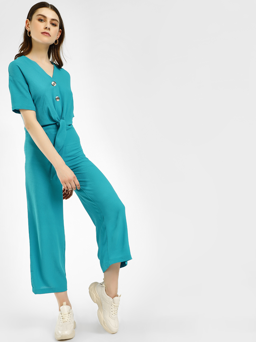 KOOVS Teal Front Knot Buttoned Jumpsuit 1