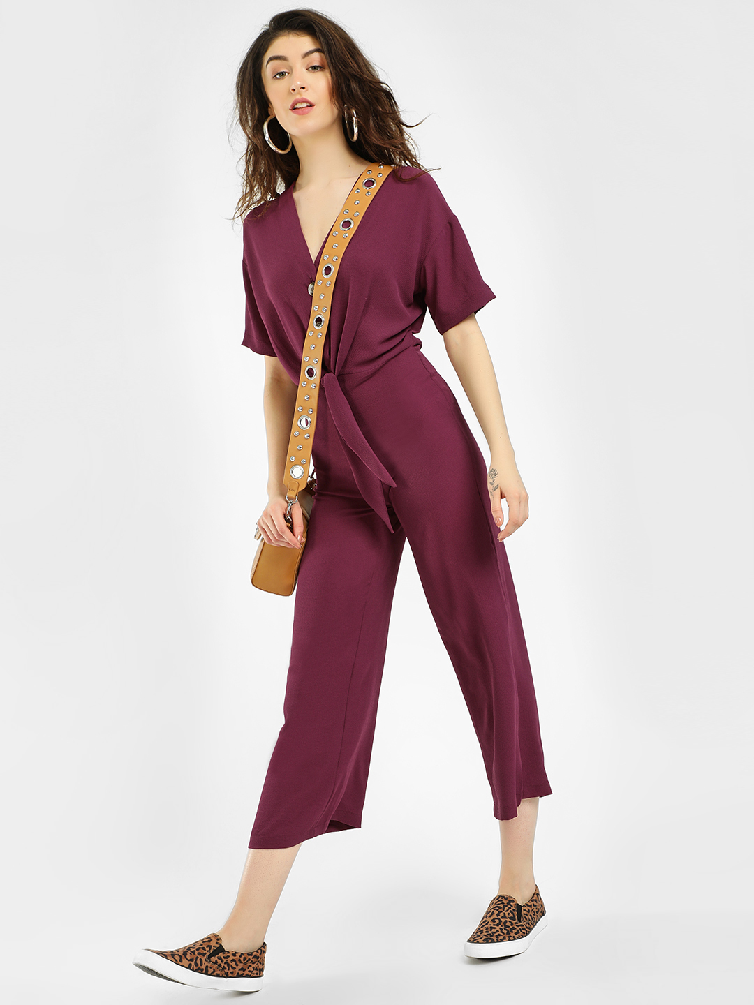 KOOVS Maroon Front Knot Buttoned Jumpsuit 1