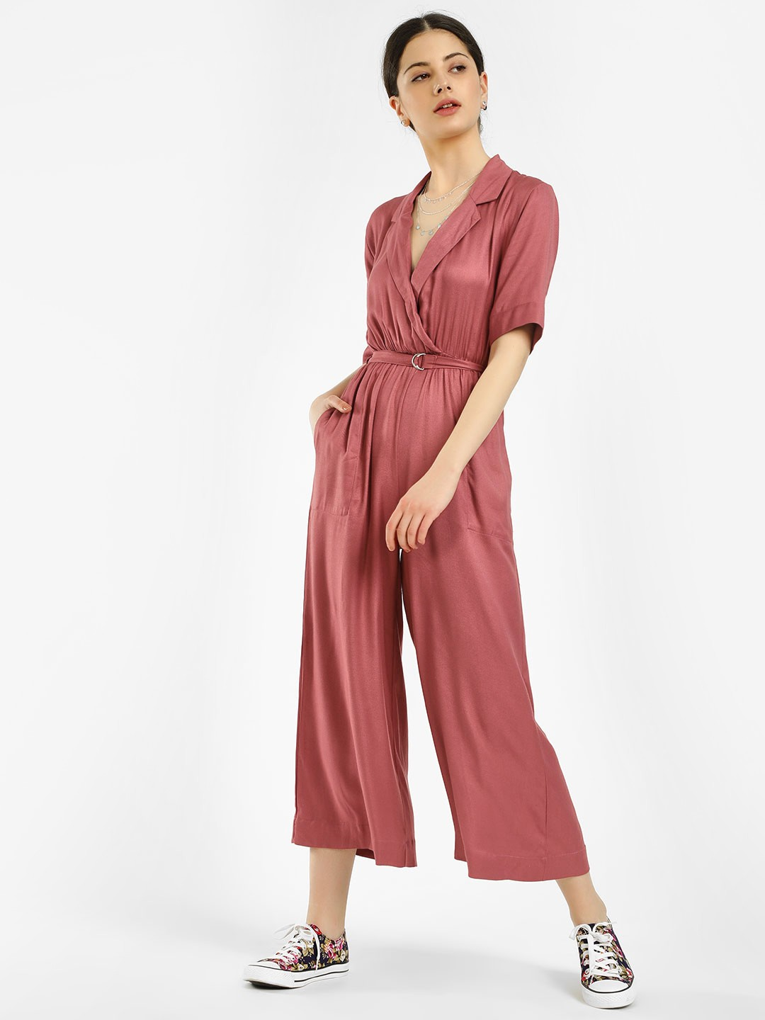 KOOVS Maroon D-Ring Belt Cropped Jumpsuit 1