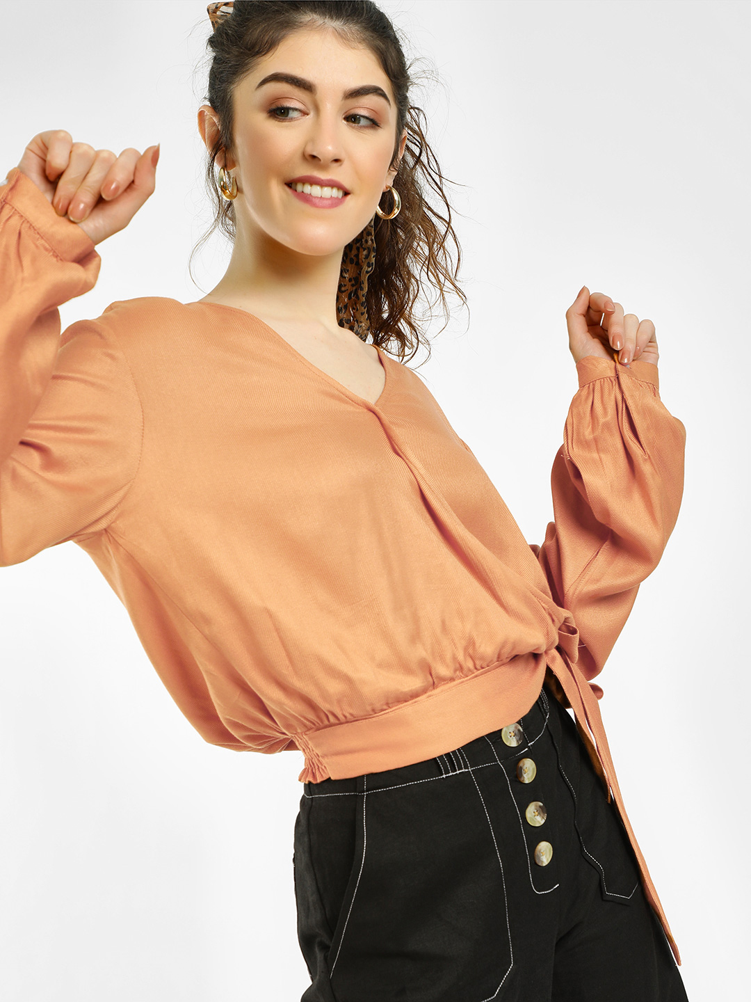 KOOVS Brown Basic Wrap Crop Top 1