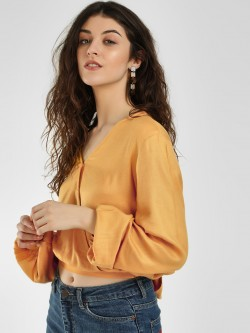 KOOVS Tie-Up Wrap Crop Top