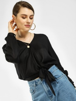 KOOVS Front Tie-Up Wrap Crop Top