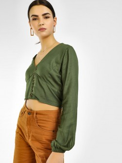 KOOVS V-Neck Button Detail Top
