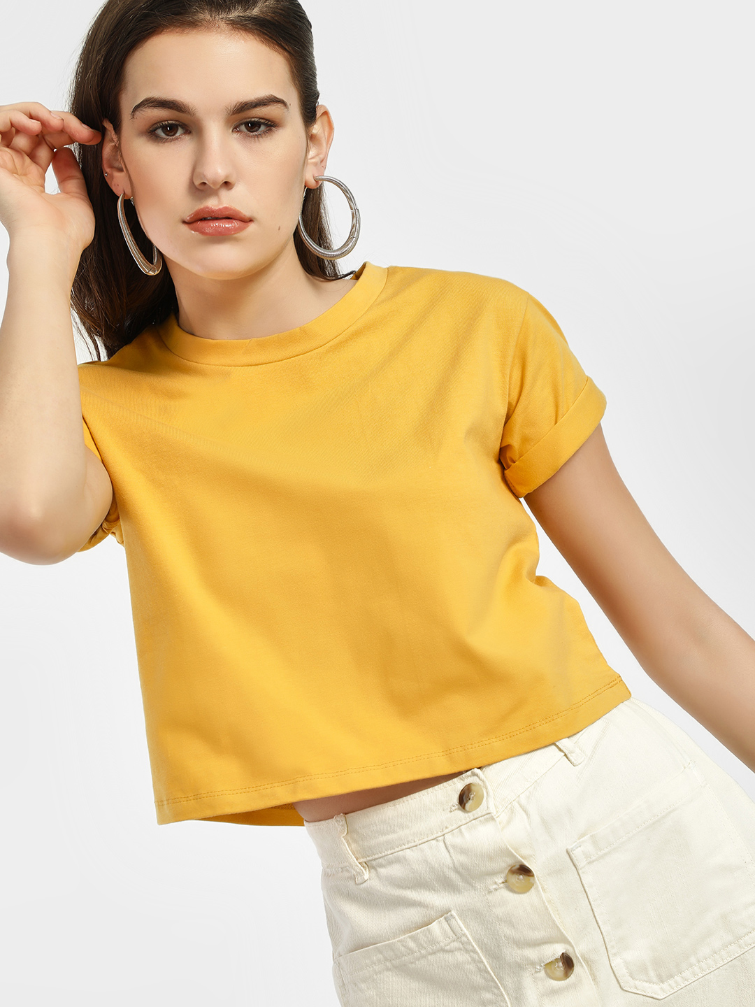 KOOVS Yellow Basic Round Neck Crop T-Shirt 1