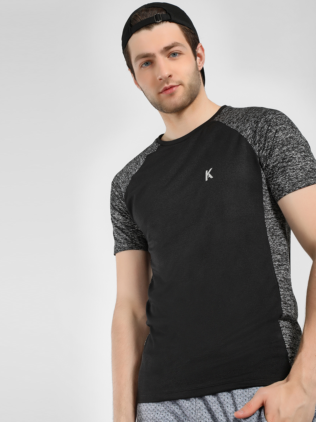 K ACTIVE Black KOOVS Printed Panel Raglan Sleeve T-Shirt 1