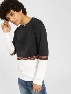 KOOVS Colour Block Text Tape Sweatshirt
