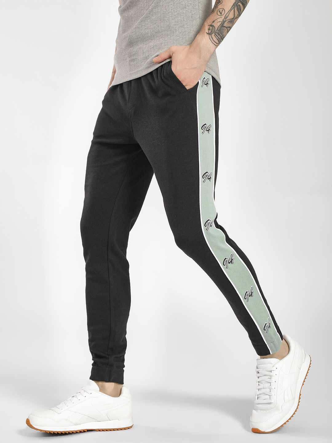 KOOVS Black 94 Print Side Tape Joggers 1