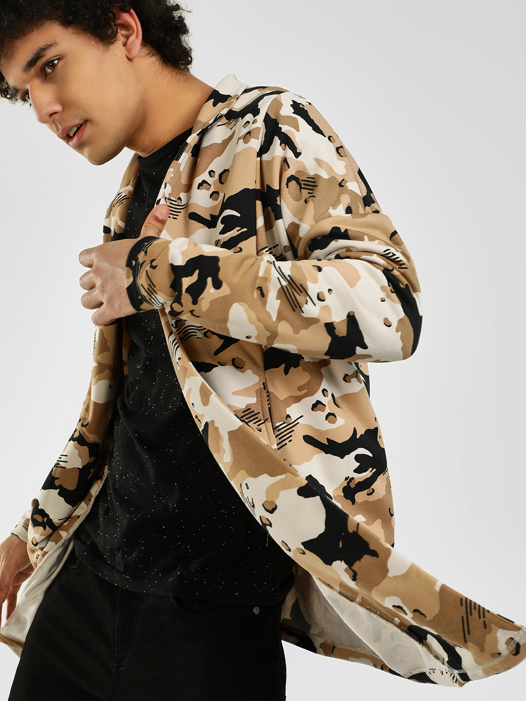 KOOVS Camo Print Waterfall Car...