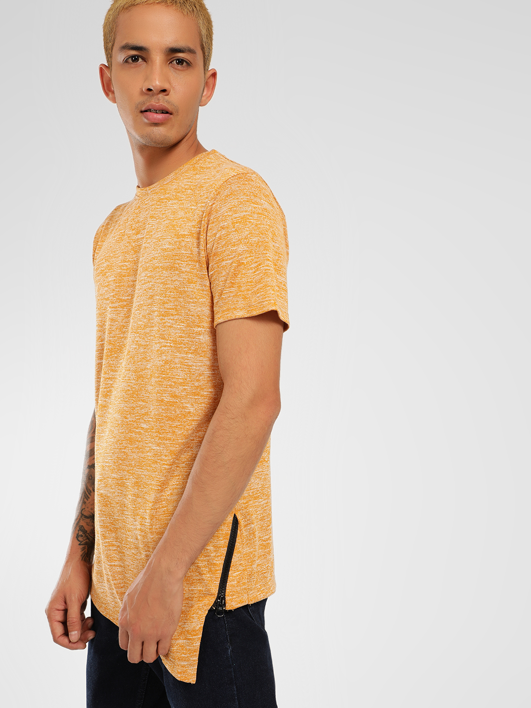 KOOVS Yellow Melange Asymmetric Hem T-Shirt 1