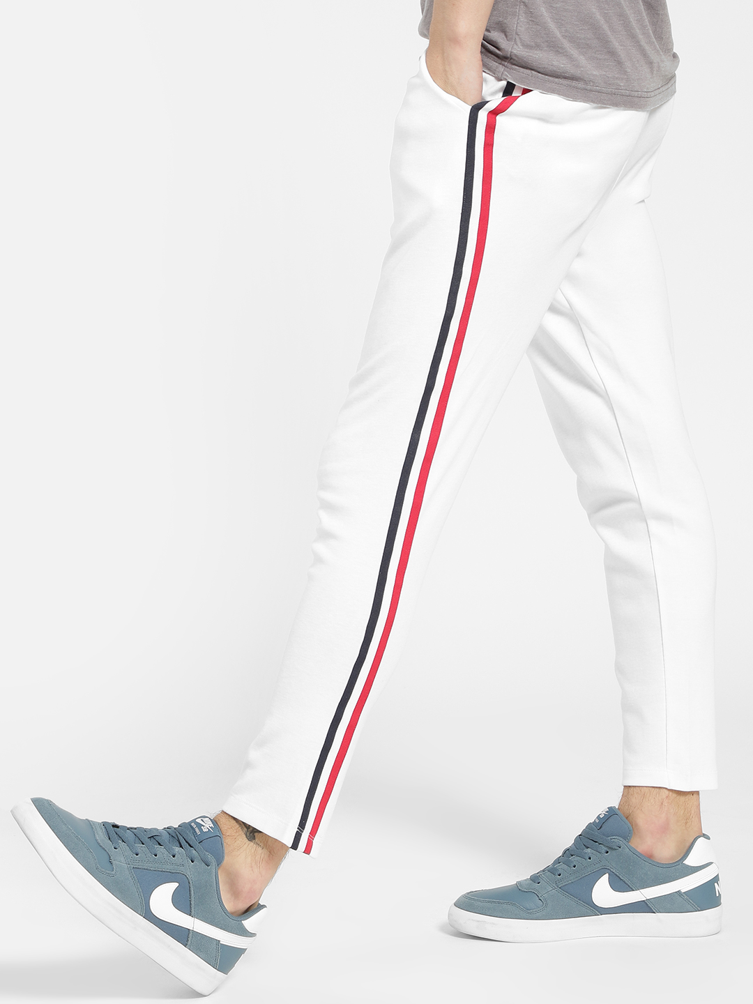 KOOVS White Contrast Tape Slim Fit Chinos 1