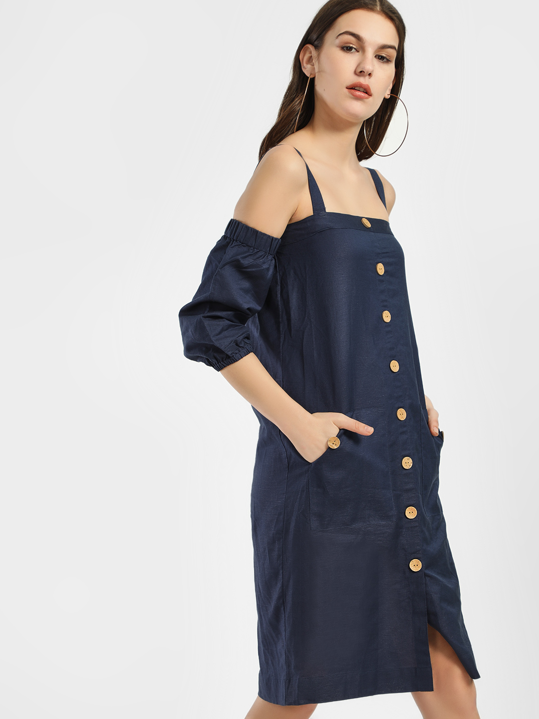 KOOVS Navy Cold Shoulder Shift Dress 1