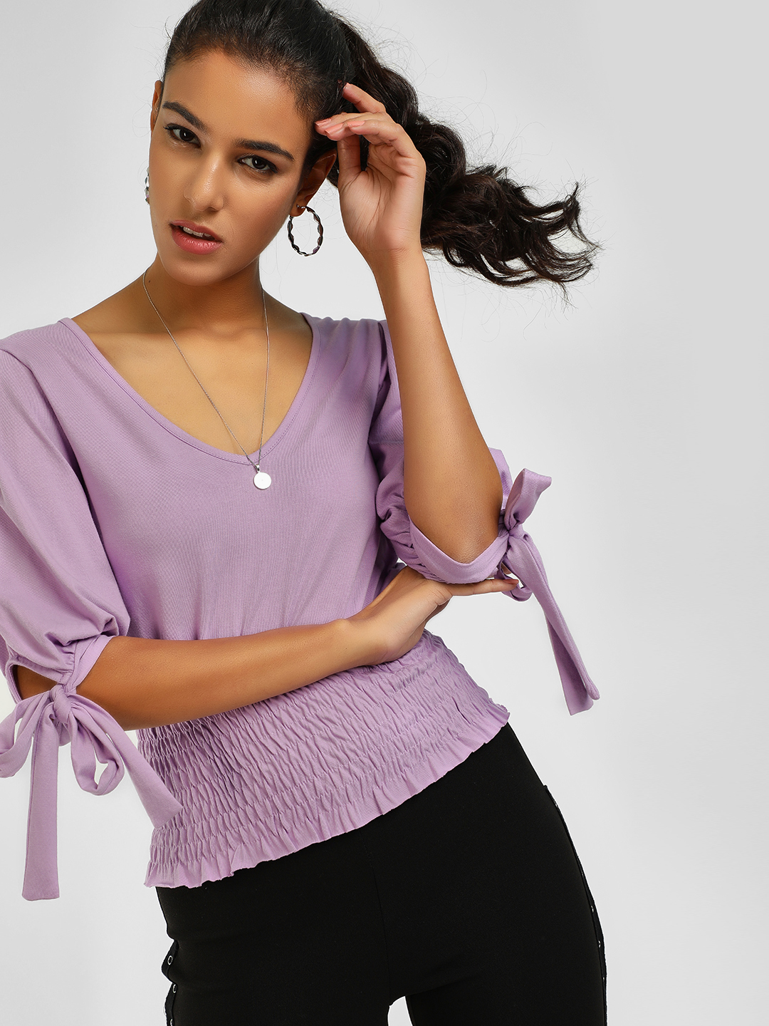KOOVS Purple Smocked Waist V-Neck Blouse 1