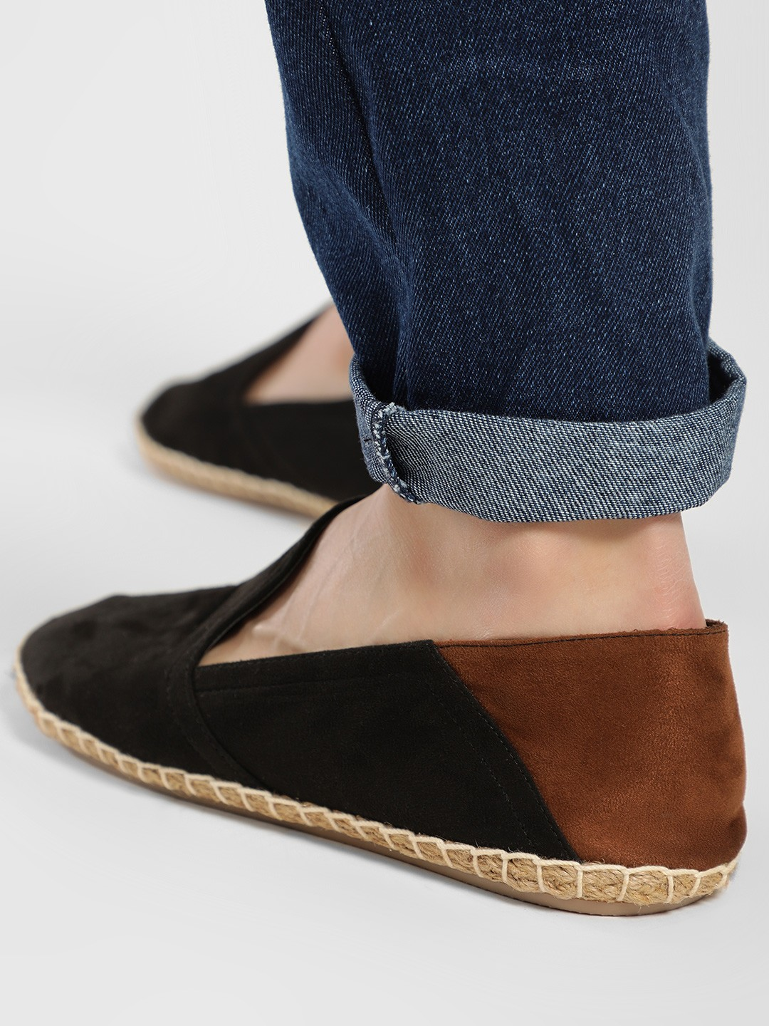 KOOVS Black Colour Block Suede Espadrilles 1